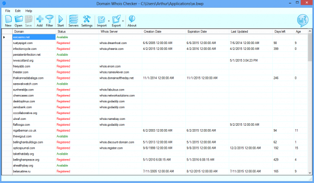 Click to view Domain Whois Checker 1.0.2 screenshot